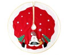 WeRChristmas - Copribase per Albero di Natale, con Babbo Natale e Neve 3D, Misura L, 100 cm, Colore: Rosso