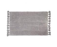 iDesign Tassel Tappeto Morbido, Tappetino Bagno Rettangolare in Cotone, Grigio, 53,3 cm x 86,4 cm