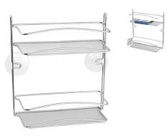 Home Mensola Rettangolare con Ventosa, 2 Piani, Filocromato, Acciaio, 25x10x27 cm