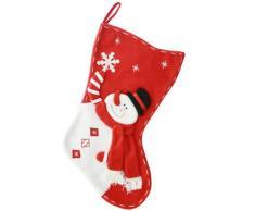 WeRChristmas - Calza di Natale con Decorazione 3D a Forma di Pupazzo di Neve, 45 cm, Colore: Rosso/Bianco