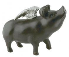 KARE Salvadanaio Rockstar Pig, Nero, 17 x 10 x 23 cm
