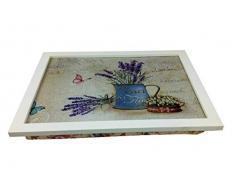 GMMH Rustico Vassoio Colore: Blu Lavanda brocca per Acqua Laptop Vassoio bambù sottomano–Vassoio da Letto Colazione da Tavolo, Tavolo–Vassoio
