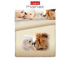 Gabel Planet Life Doggy Completo Copripiumino, 100% Cotone, Multicolore, Matrimoniale, 250x205x1 cm