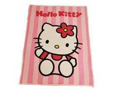 Hello Kitty Fleece Plaid in Pile, Poliestere, Rosa, 130x160x0.2 cm