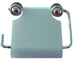 MSV 140046 - Portarotolo di carta igienica, in plastica e metallo cromato, 14 x 10,5 x 0,1 cm, colore: bianco