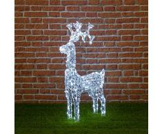 XMASKING Renna con Cristalli, 200 LED Bianco Freddo, H 90 cm, Renne Luminose, Decorazioni di Natale per Giardino, luci Natalizie