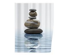 WENKO 20961100 Tenda doccia Meditation - fibra tessile di qualità, lavabile , Poliestere, Multicolore