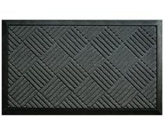 Deco Tapis - Zerbino, motivo a quadri, in polipropilene, 75 x 45 cm grigio