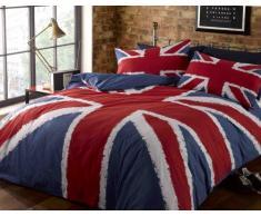 Rock N Roll Union Jack, Colore: Rosso, Bianco e Blu dellUnion Jack-couette. Semplice, 135 cm x 200 cm con 1 Federa per Cuscino.