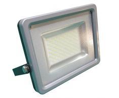 V-TAC - Faretto LED 50 Watt, SMD, luce naturale, IP65, sostituisce lampada alogena, alloggiamento in alluminio pressofuso grigio