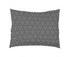 Douceur dIntérieur Optic - Federa cuscino volante piatto, in cotone, colore: antracite/bianco, Cotone, antracite/bianco, 50x70x70 cm