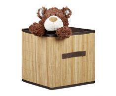 Relaxdays Scatola portaoggetti piegehvole, Design bambù, Quadrata, con Maniglia, HxLxP: 28,5x28,5x28,5 cm, Guardaroba, Marrone
