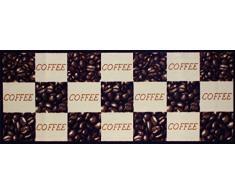 Andiamo 1100336 Tappeto da cucina, motivo cappuccino, Tappeto da cucina tazze di caffè, Oeko-Tex, 67 x 180 cm, marrone, marrone, 67 x 180