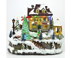 Shatchi Big Christmas Light Up Musicale LED, presepe Natale casa Decorazioni