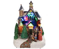 WeRChristmas - Decorazione Natalizia con luci LED Colorate, 25 cm, Soggetto: Chiesa con Coro di Natale