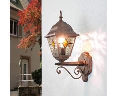 Lampada da parete antica da esterno Salisburgo con vetro in stile Tiffany rosso nero antico IP44 resistente alle intemperie E27 a 60W 230V nostalgica lampada da parete da esterno per cortile e giardino
