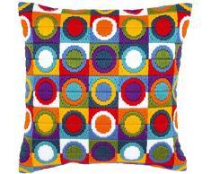 Vervaco - Cuscino a Punto Lungo, Motivo: Cerchi, Multicolore