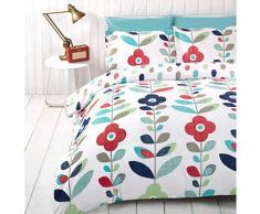 Just Contempo - Copripiumino trapuntato double-face misto cotone, set di biancheria da letto, con motivo retrò floreale, con federa per cuscino in coordinato, Cotone, blu (foglia di tè rosso verde), Copripiumino singolo