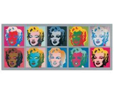Artopweb Pannelli Decorativi Warhol Ten Marilyns 1967 Quadro, Legno, Multicolore, 134x1.8x56 cm
