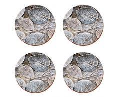 CREATIVE TOPS Frosted Leaves Cork-Back Premium tovagliette Rotonde, Set di 4