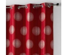 Douceur dIntérieur - Tenda con occhielli, in poliestere, con stampa, argento, atomo, 260x 140cm, ceramica, rosso, 140 x 260 cm