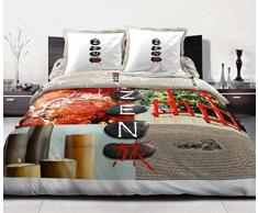 Douceur de Nuits HC3 1289 ZEN STONE Parure, 3 pezzi, Copripiumino Matrimoniale, cotone, dimensioni: 220 x 240 cm, multicolore