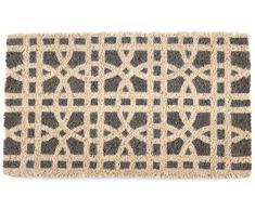 Zerbino Entryways Tessuto a Mano in Fibra di Cocco, Decorazione a Cerchi intersecati, Colore Grigio/Bianco