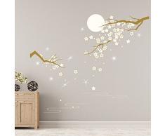 WALPLUS ADESIVI DA PARETE CRISTALLI SWAROVSKI & fiori sotto Chiaro di Luna murali decalcomania arte decorazione casa soggiorno stanza Bebè RISTORANTE ALBERGO CAFFÈ UFFICIO DECORAZIONE,variopinto