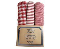 Campagne Table Linen - Set di 3 strofinacci, colore: rosso