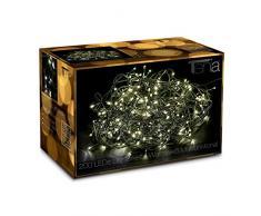 200 LED Catena Luminosa Bianco Caldo (8 Effetti) 20m + 10m Prolunga Luci Natale Natalizia per Interni/Esterni