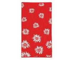 fleuresse 2932 - Asciugamano a Motivo Floreale, 50 x 100 cm, Colore: Rosso