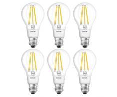 Osram 961678 - Lampade LED a filamento, Forma Classica, E27, 11 W equivalente a 100 W, 220 - 240 V, Bianco Caldo 2700K, Pacco da 6 Pezzi