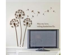Brown Dandelion-AY695 Dandelion Dream - Elemento decorativo in vinile Do-It-Yourself per parete, autoadesivo e rimovibile, con citazioni, decorazioni artistiche per la casa, decorazioni per parete, colore: marrone