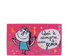 laroom Zerbino Motivo Qui è Sempre Una Festa, Jute And Base Antiscivolo, Rosa, 40x 70x 1.8cm