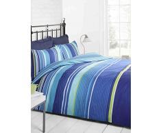 Signature Striped Trapunta e Copripiumino, 2 federe, Colore: Blu Chiaro/Blu/Verde/Bianco, Matrimoniale