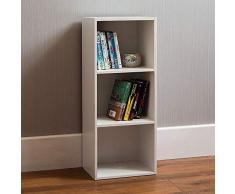 Home Discount Oxford 3 Ripiani in Legno Bianco cubo Libreria, mensola unità di stoccaggio di visualizzazione Ufficio Mobile da Salotto