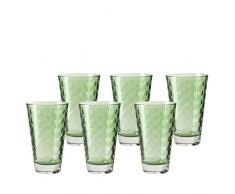 Leonardo 014774 Set di 6 bicchieri da acqua, grandi, lavorati, lavabili in lavastoviglie, colore verde