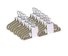 JVL - Confezione di 100 grucce sottili salvaspazio, rivestite in velluto antiscivolo, colore: beige visone