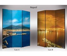 Separè bifacciale artistico Divisorio 3 ante su tela Napoli 176x3.2x135.6 cm