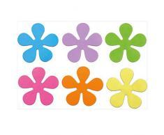PAPILLON Ventose Antiscivolo per Vasca da Bagno, Motivo Floreale, 10,5 cm, Set da 6 Pezzi, Giallo/Lilla/Rosa/Arancione/Verde/Blu