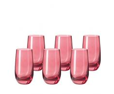Leonardo 014897 Set 6 Bicchieri Acqua Bicchieri grande Sora, lavabile in lavastoviglie, rubino rosso