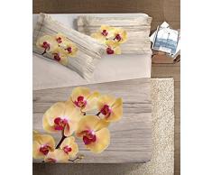 Ipersan Parure Lenzuolo Copriletto Fine Art con balza reverse Matrimoniale, lenzuola 100% Cotone con stampa digitale fotografica Piazzata, Dis.Orchidea