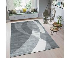 VIMODA Tappeto Moderno Design Bianco Grigio Incurvata Strisce - Pratico e Top qualità - Grigio, 120x170 cm