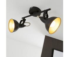 Briloner Leuchten Faretti retro 2, vintage, orientabili, luci da soffitto, nero e oro, max. 40 W, montaggio E14, 30.4 x 18.1 x 10 cm (L x A x P)