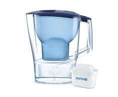 BRITA Aluna Caraffa con Filtro Acqua, Imbuto e caraffa–SMMA, Coperchio–ABS, 25x 8,5x 25 cm, Blau, 25.0 x 8.5 x 25.0 cm