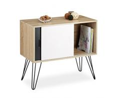 Relaxdays Credenza armadietto retrò, design anni 60, legno e metallo, stile nordico scandinavo HxLxP 70x80x40 cm, bianco e nero