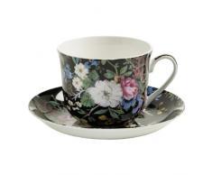 Maxwell & Williams Kilburn Tazza per la Colazione, con Piattino, Tazza per il Caffè e il Tè, Midnight Blossom, Porcellana, WK01300