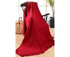 Elite Home Collection - Coperta di ciniglia, 100% poliestere indiano, per divani a 3 posti o letti matrimoniali, 225 x 250 cm, colore: Rosso scuro