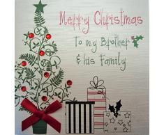 Bianco Carte Cotone Buon Natale a mio fratello e sua albero e regali a forma di mano Family Card