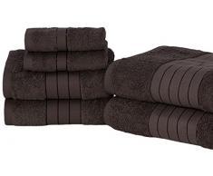 Dreamscene-Set di asciugamani, cotone, colore: cioccolato, 485 g/m², confezione da 6